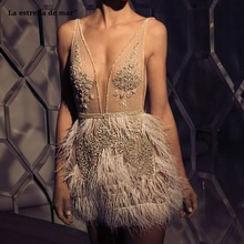 Vestidos de coctel new lace beaded feather sexy V neck ivory cocktail dresses mini sukienka koktajlowa advanced custom