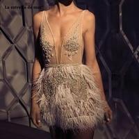 Vestidos de coctel new lace beaded feather sexy V neck ivory cocktail dresses mini sukienka koktajlowa advanced custom