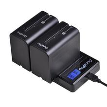 Комплект из 2 предметов 7200 мА/ч, NP-F960 NP F970 Камера Батарея+ ЖК-дисплей USB Зарядное устройство для sony NP-F550 F770 F750 F960 FM500H FM70 QM91D QM71D HVR-V1J