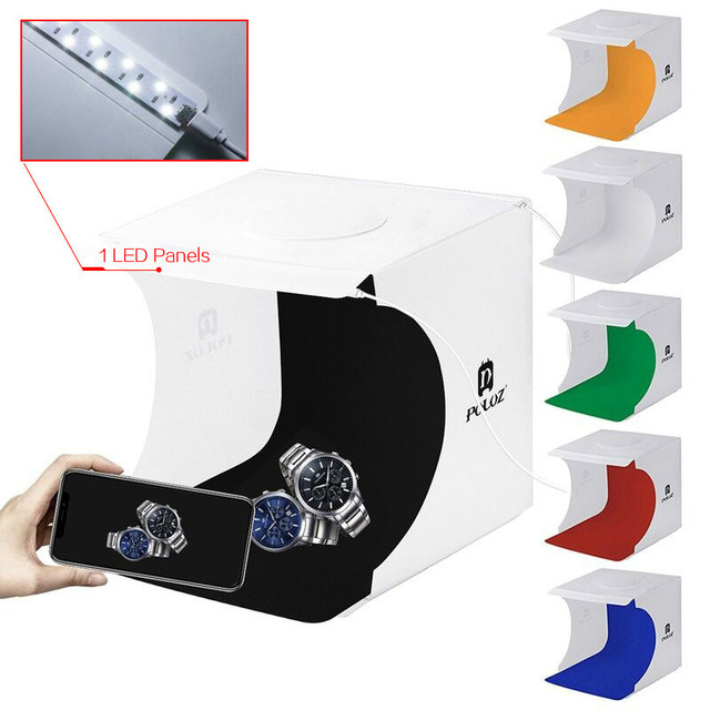 Puluz 20cm 데스크탑 사진 스튜디오 접이식 탁상용 슈팅 라이트 박스 사진 포토 박스 Led 라이트 소프트 박스 라이트 박스 6 색