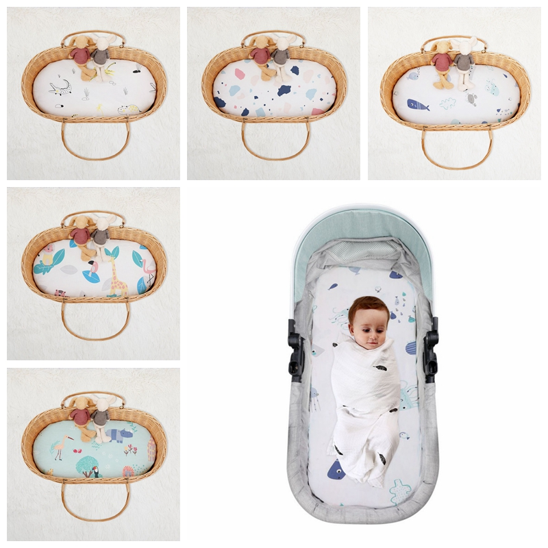 Nordic Baby Cotton Woven Children Sheets Shaker Bed Sheet Cotton Newborn Mattress Cover Cradle Mat Sheets Elastic Sheets