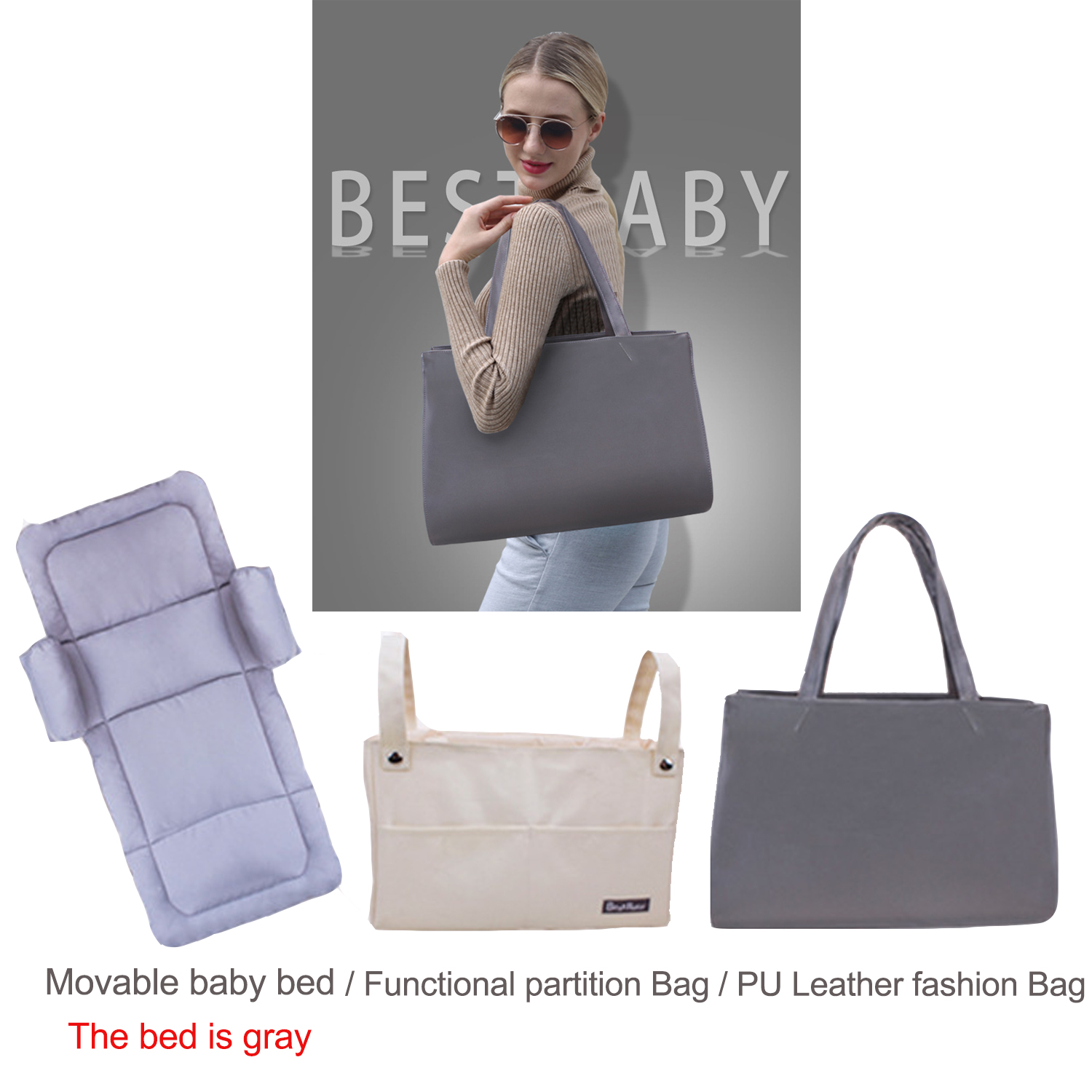 Three-in-one multi-function Mummy bag, travel baby bed, stroller bag Portable baby crib newborn bed in bed Fashion PU bag