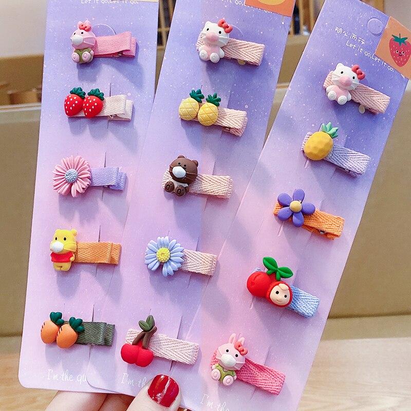 5/10 Pcs/Set Girls Cute Candy Cartoon Fruit Flower Soft Fabric Hair Clips Children Lovely Hairpins Baby Kids Hair Accessories