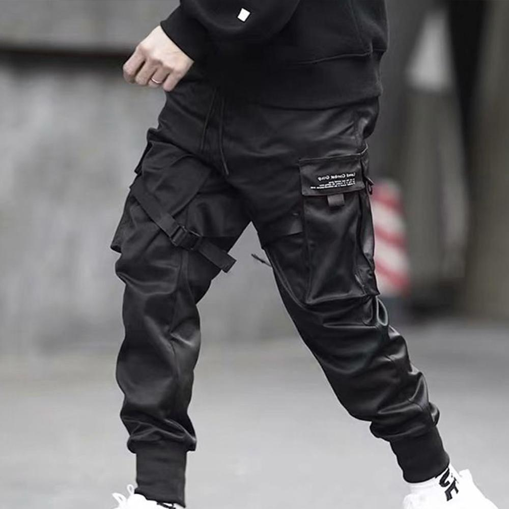 Hip Hop Boy Multi-pocket Elastic Waist Design Punk Casual Trousers Jogger Harem Pant Men Street Wear Male Dancing Black Pant