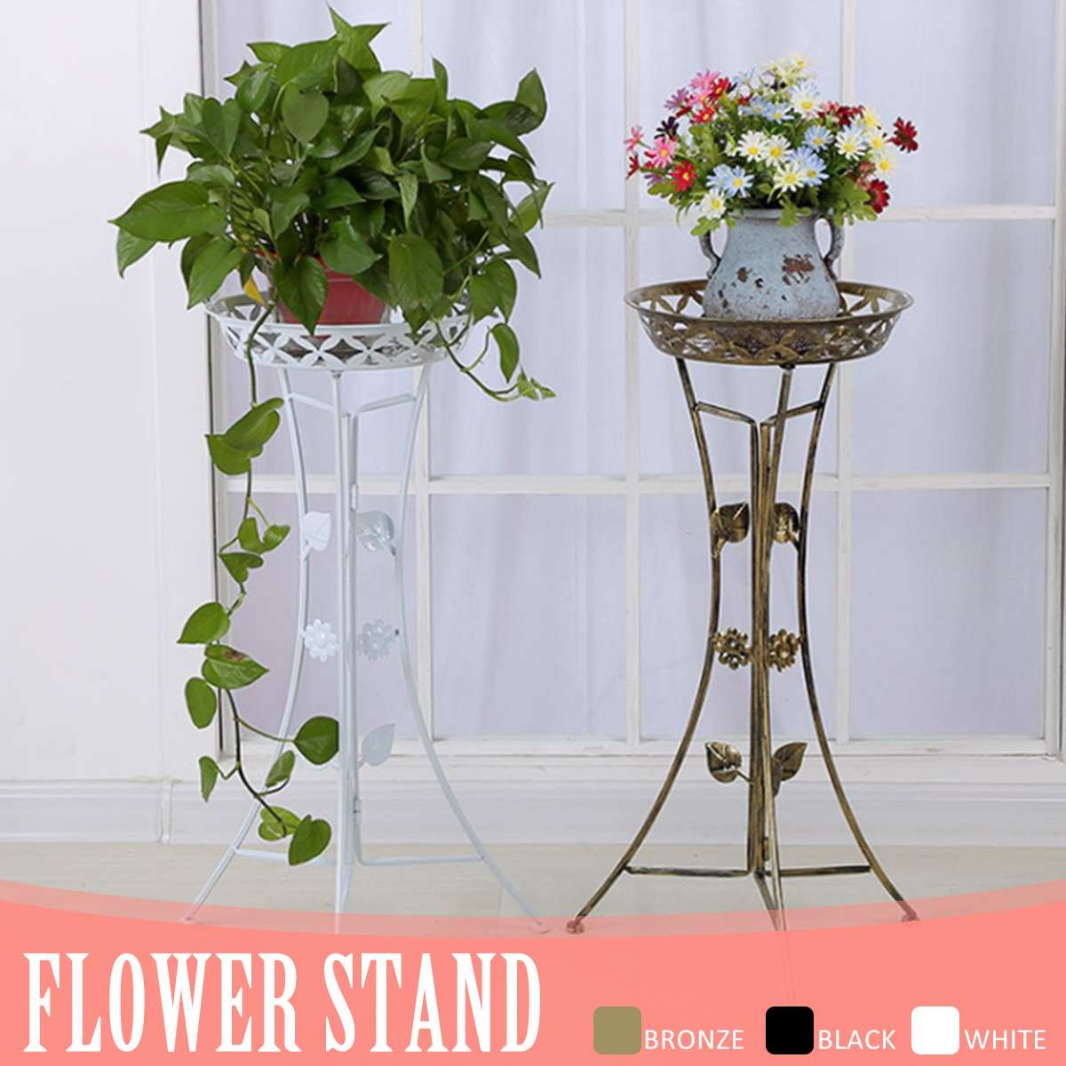 Metal Plant Stand Shelf Black/White/gold Elegant Display Garden Balcony Flower Pot Shelf Rack Holder Home Indoor Decor