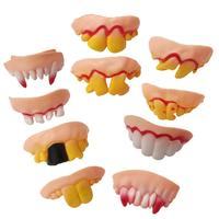 10Pcs Funny Zombie Denture Teeth Halloween Cosplay Costume Trick Toys perfect gifts for children Trick Toy Faux Teeth