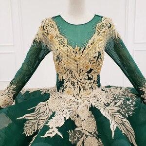 Image 4 - HTL1173 ערב שמלות ארוך אפליקציות ואגלי נצנצים דפוס ציצית תחרה עד פורמליות שמלת נשים אלגנטית vestidos דה finalistas