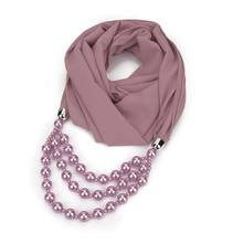 Vintage Ethnic Womens Solid Color Chiffon Infinity Scarf with Large Imitation Pearl Beading Chain Pendant Jewelry Necklace 517D(China)