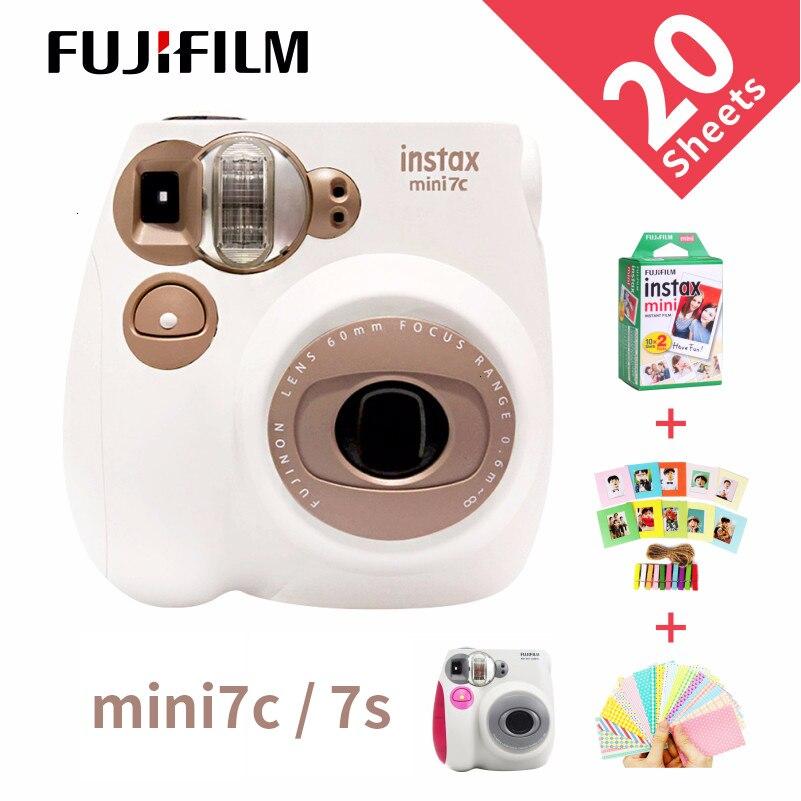 Nouveau véritable appareil Photo Fujifilm Instax Mini 7C 7S 6 couleurs en vente blanc rose bleu impression instantanée Film Photo prise de vue instantanée