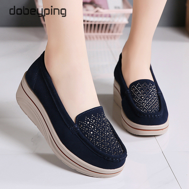Spring Autumn Women Flats Shoes Platform Female Sneakers Moccasins Shoes Woman Crystal Slip On Shoe Suede Leather Ladies Loafers