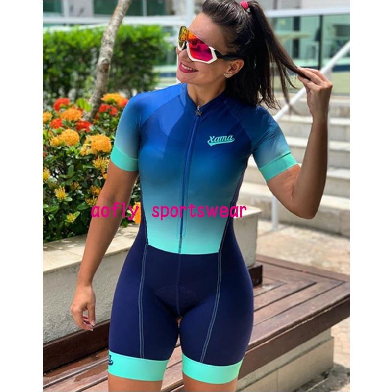 2021 xama pro feminino triathlon terno roupas ciclismo conjuntos de skinsuit macacão kits macaquinho ciclismo feminino gel maillot mujer roupas femininas com frete gratis  ciclismo feminino gel macacão triathlon 10