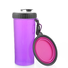 Folding Dog Boowl Water Rubber Bottle Kitten Puppy  Feeder Portable Tour Food Container, Pet Accessories