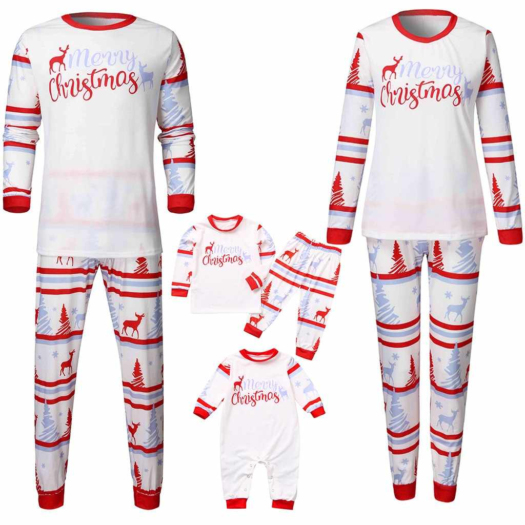 Christmas Family Pajamas Set Women Mommy Letter Deer Printed Top+Pants Xmas  Family Matching Clothes Home Pajamas Dropshipping
