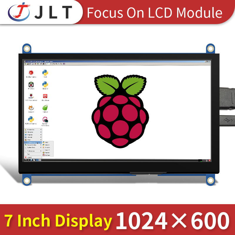 factory wholesale 7inch LCD module 1024*600 IPS raspberry pi display with touch panel pi4 pi3