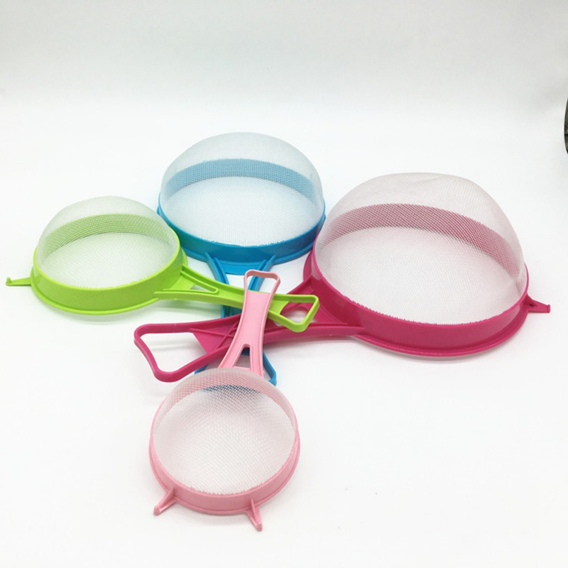 Plastic Fine Mesh Strainer Colander Flour Sieve With Handle Juice Tea Strainer Tool Kitchen Tools Accessories 4Pcs/Set