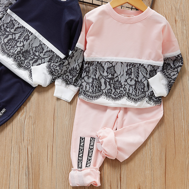 2019 Autumn Winter Girls Clothing Sets Children Lace Stitching Sweatshirts Tops+Letter Pants Two-Piece Kids Girls Clothes Suits
