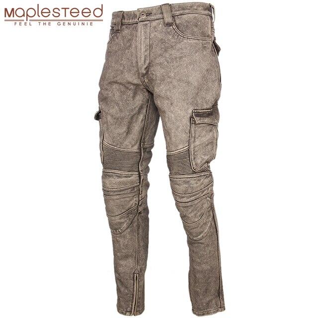 Motosiklet deri pantolon erkek deri pantolon kalın 100% inek derisi Vintage gri kahverengi siyah erkek Moto Biker pantolon kış 4XL m216
