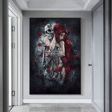Abstract Skull Girl Canvas Painting Art Posters and Prints Dark Rose Flowers Wall Art Pictures Cuadros for Living Room Decor