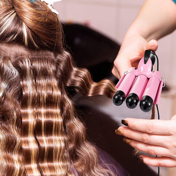 Hair Curling Iron Triple Barrels LCD Display Tourmaline Ceramic Hair Curler Waver Curlers Rollers Styling Tools Hair Styler Wand automatic hair curler curling iron crimp air curler curling wand hair waver styler tools portable hair curlers hair crimper iron