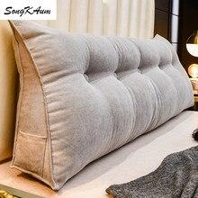 Songkaum novo estilo sólido longo cabeceira travesseiros com enchimento lavável travesseiro único duplo casa almofada tatami para dormir