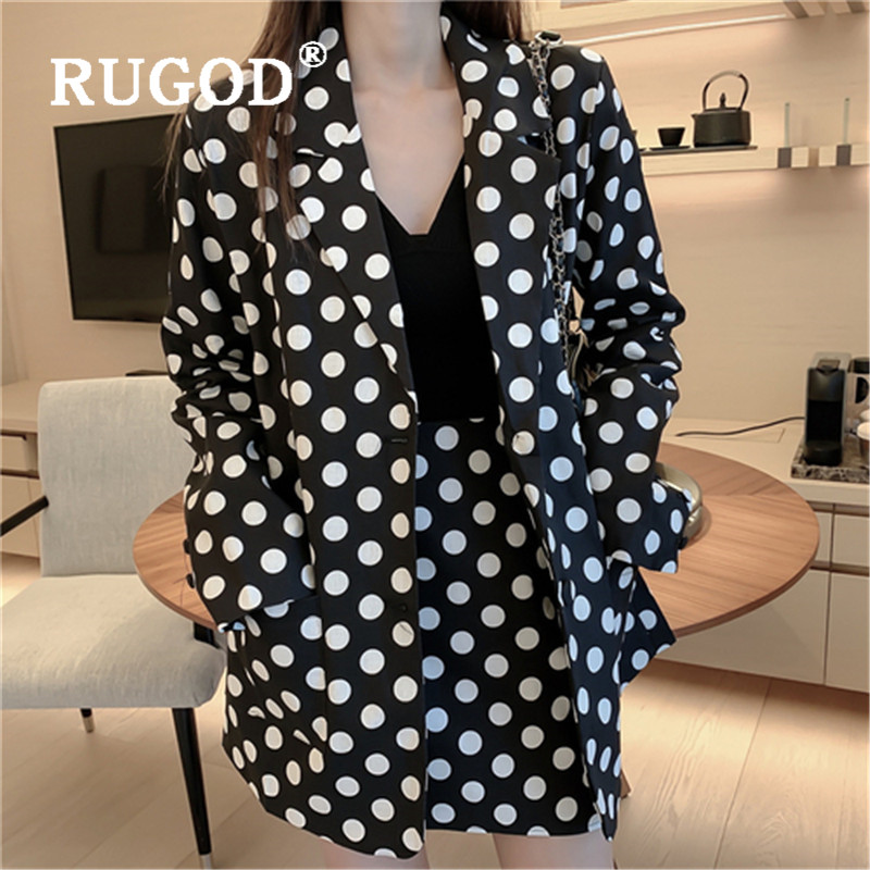 RUGOD Temperament Office Lady Suits Women Fahion Dot Print Long Sleeve Blazer And High Waist Pencil Skirt Suits Two Pieces Set