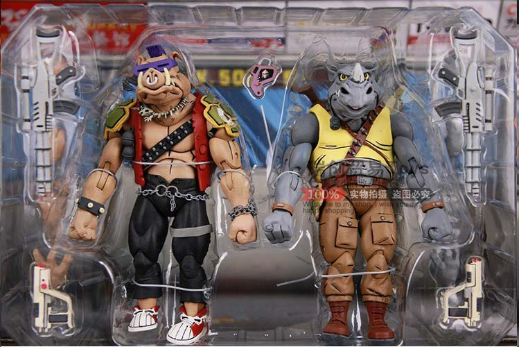 1986 Ver 2pc NECA Turtles shredder Pig and Rhino Bebop Rocksteady Action figure PVC Toy Dolls gift Collectible Model Anime image