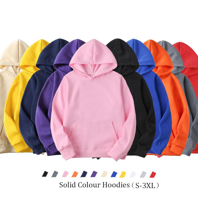 Solid Color Fleece Hooded Sweater Kangaroo Pocket Couple Style Blank Pullover Sweater Casual Pullover Hoodies Women Loose