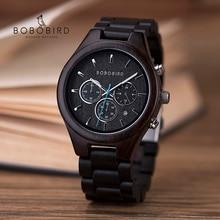 BOBO BIRD Ebony Watch Luxury Wood Men Wristwatches Date Display Multi-function Chronograph reloj hombre As Great Gift In Box