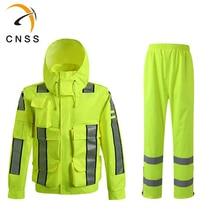Флуоресцентный дождевик мужской дождевик брюки светоотражающий грузовой дорожный карман флуоресцентные наклейки