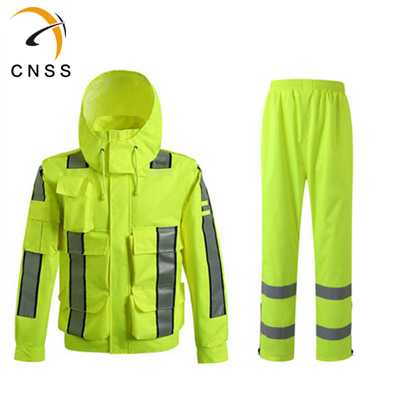 Fluorescent Raincoat Mens Rain Jacket Pants Reflective Cargo Traffic Pocket Free Shipping Fluorescent Stickers