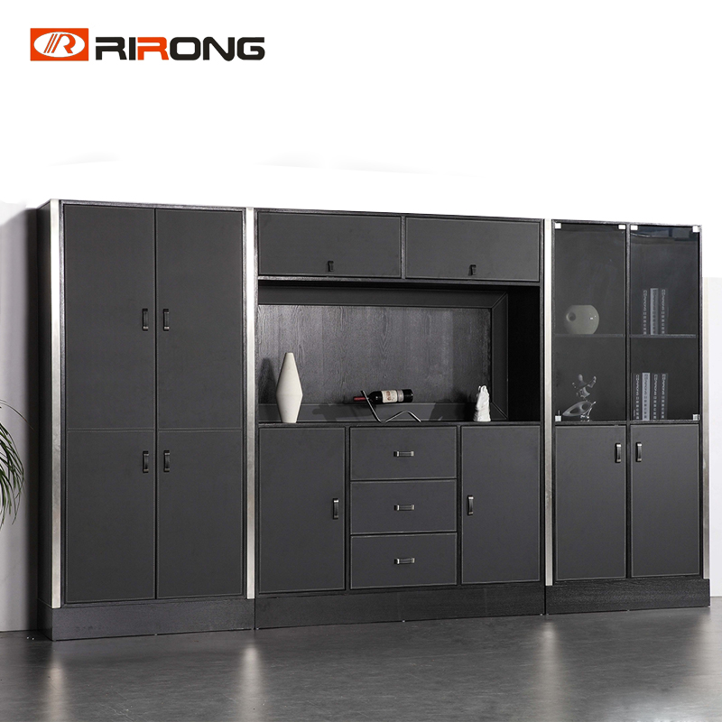Luxury Big Size VIP Room Black Color  Office Furniture Big Boss Manager Bookcase Filling Cabinet