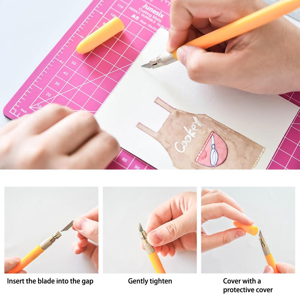 A5 Cutting Hand Count Art Pen Pad Set Engraving Pen  Aluminum Ruler Rotary Cutting Mat Three Piece Set Self Healing