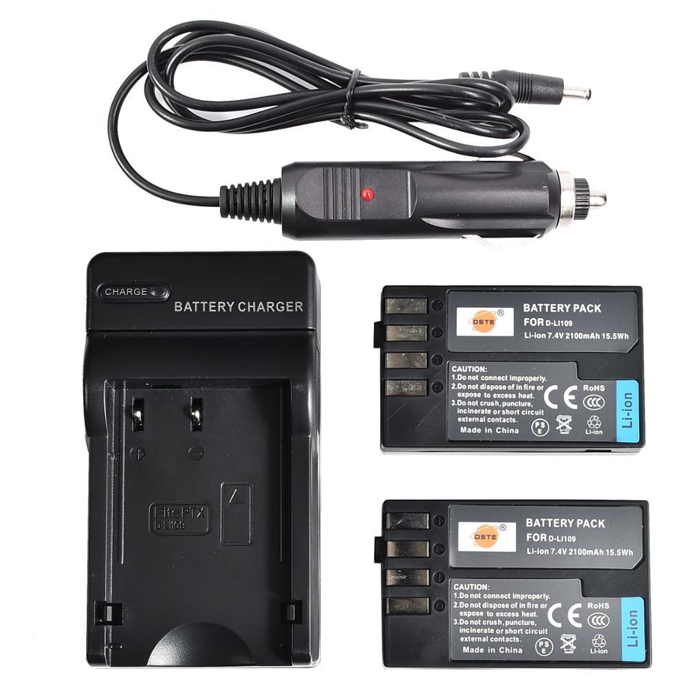 DSTE 2 шт., аккумулятор для фотоаппарата с американской вилкой, комплект для зарядного устройства для Pentax, D-LI109 K-30, фотокамера