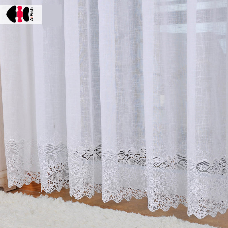 Luxury Jacquard White Curtains for Bedroom Hollow Lace Bottom Delicate Elegant French Window Drapes JS56C|Curtains| |  - title=