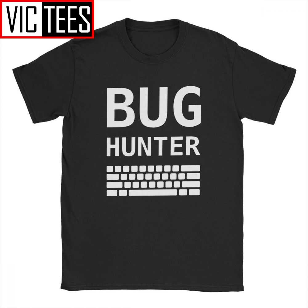 Bug Hunter Mit Tastatur T-shirt Männer Baumwolle Casual T-shirt Tester Testing Bug Coder Entwickler Hunter s