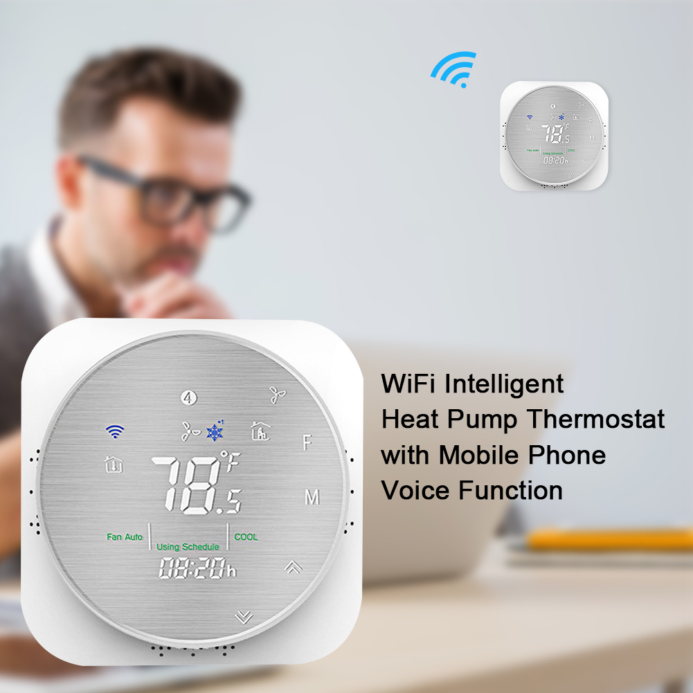 Office Hotel Heat Pump Sensor Mobile Phone Temperature Control Voice Remote WIFI Flame Retardant Smart Thermostat Date Memory