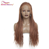 Long Brown Braided Wig Synthetic Hair Extension Lace Front Wig For Women Box Braiding Hair Wig Heat Resisant Fiber Golden Beauty