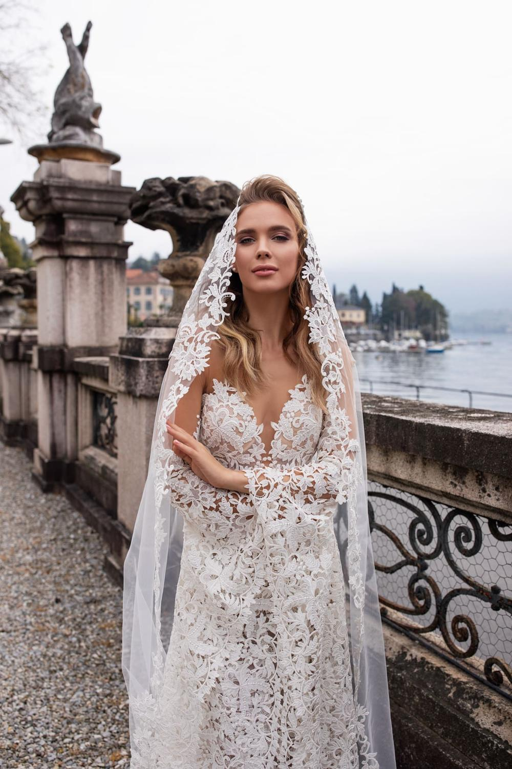 Image 2 - New Arrival Fashion Lace Mermaid Wedding Dresses With Flare Sleeves 2019 Backless Sweep Train Bride Dress Bridal Wedding Gowns-in Wedding Dresses from Weddings & Events