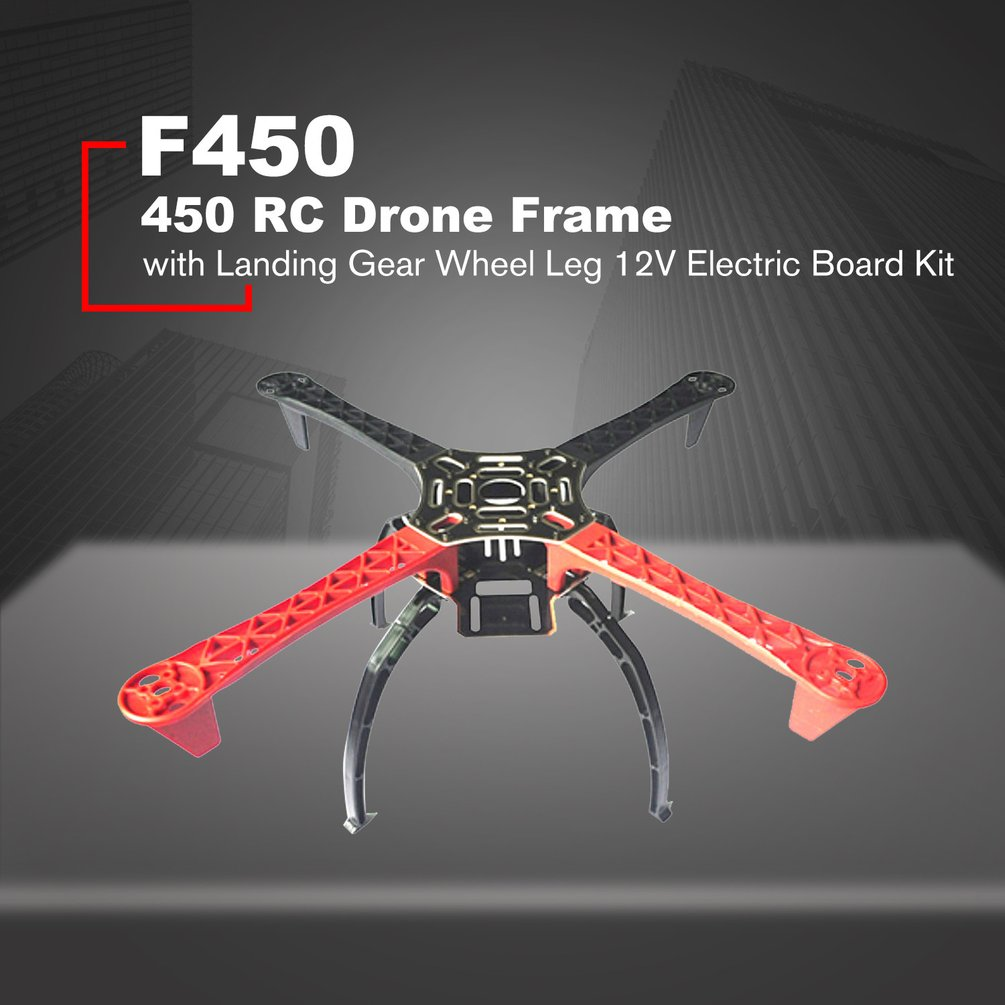 F450 450 Drone Arm Frame Wheelbase with Landing Gear Wheel Leg 12V Electric Board Kit for RC 4-Axis Multicopter Quadcopter
