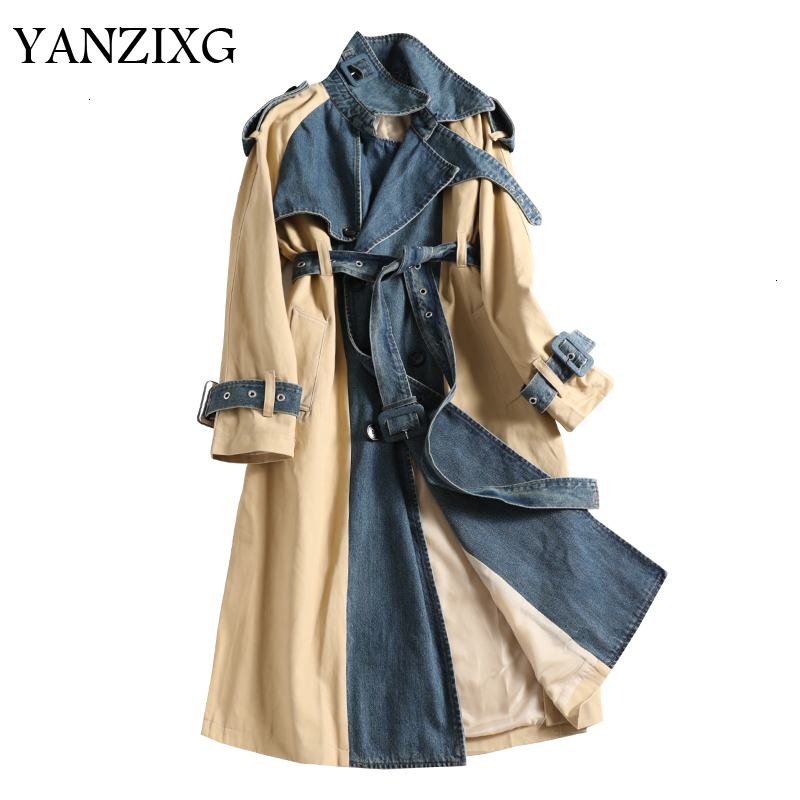 Double-breasted Denim Stitching Windbreaker Female Autumn And Winter New 2019 Wild Trench Coat For Women Casual D960
