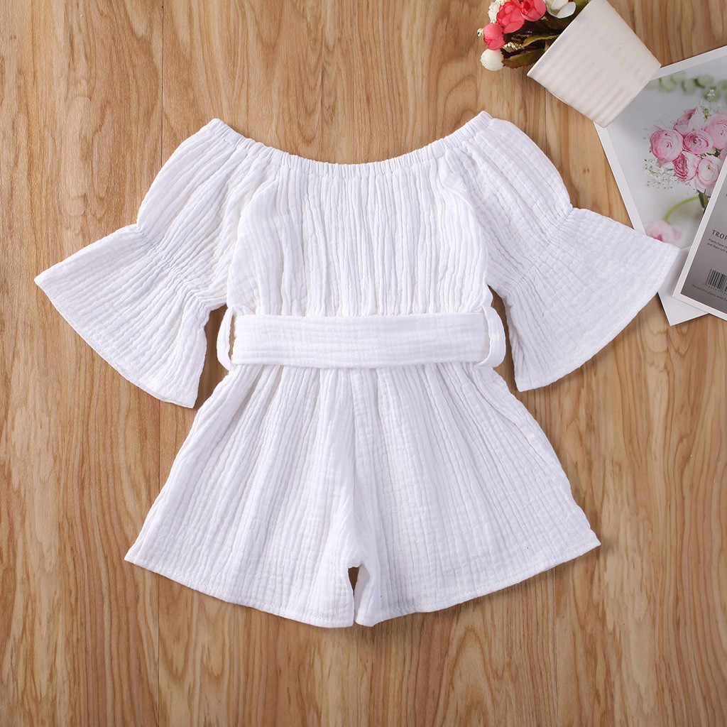 Toddler Baby Kids Girls Boys Off-Shoulder Ruffle Bow Romper Jumpsuit Outfits