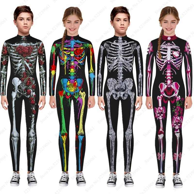 Halloween Kids Skeleton Rose Bodysuit Children Devil Vampire Skull 3D Print Horror Jumpsuit Carnival Party Scary Cosplay Costume