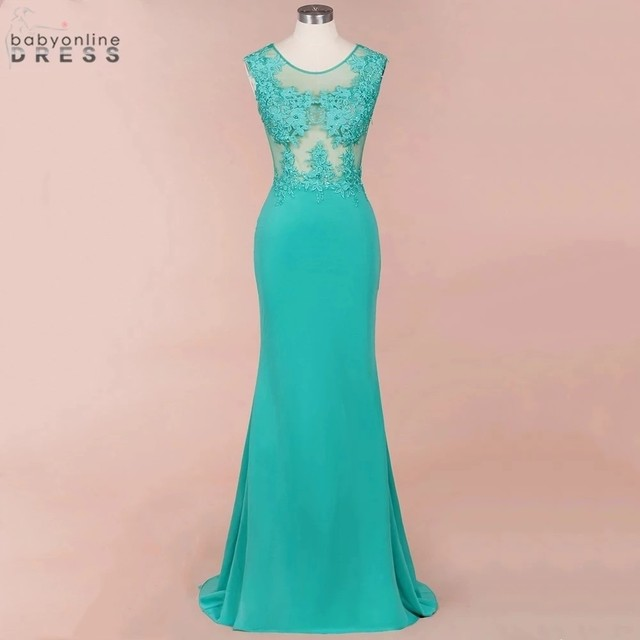 New Arrival Green Lace Mermaid Prom Dresses Long Sexy Illusion Sleevess Evening Party Dresses Vestido de Festa 2