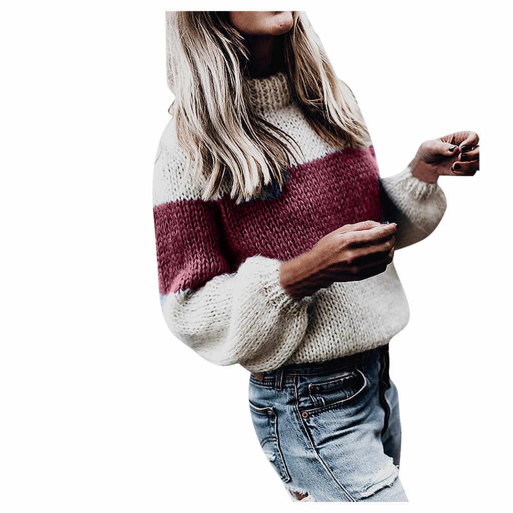 Frauen pullover gestrickte KLV frauen pullover damen hohe kragen pullover pullover pullover casual nähte lange ärmeln hemd 9,4