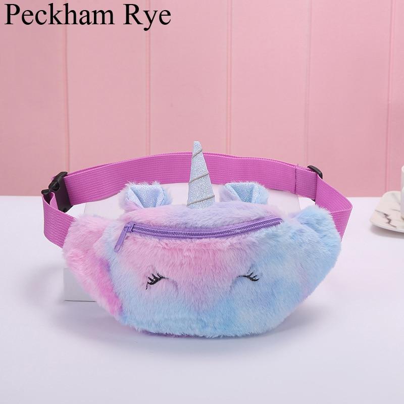 Unicorn Plush Waist Bag For Children Cartoon Women's Waist Bag Belt Bags Heuptas Bum/chest Bag Fanny Pack For Women Waist Packs