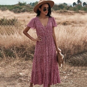 Floral Print Maxi Dress Women Boho Elegant V Neck Long Shirt Dress Summer Short Sleeve Long Dress Ladies 2021 Beach Sundress