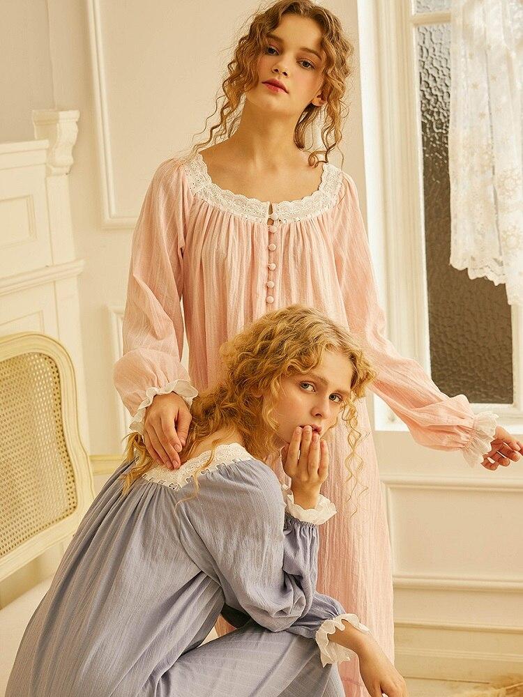 Spring Autumn 100% Cotton Women's Sleepwear Pink Princess Girls Long Nightgowns Loose Nightwear 1