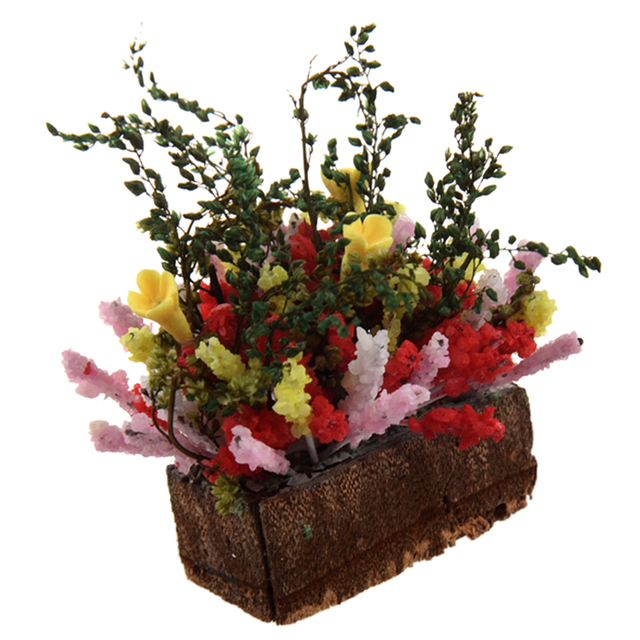 1//12 Dollhouse miniature multicolor flower bush with wood pot.jh