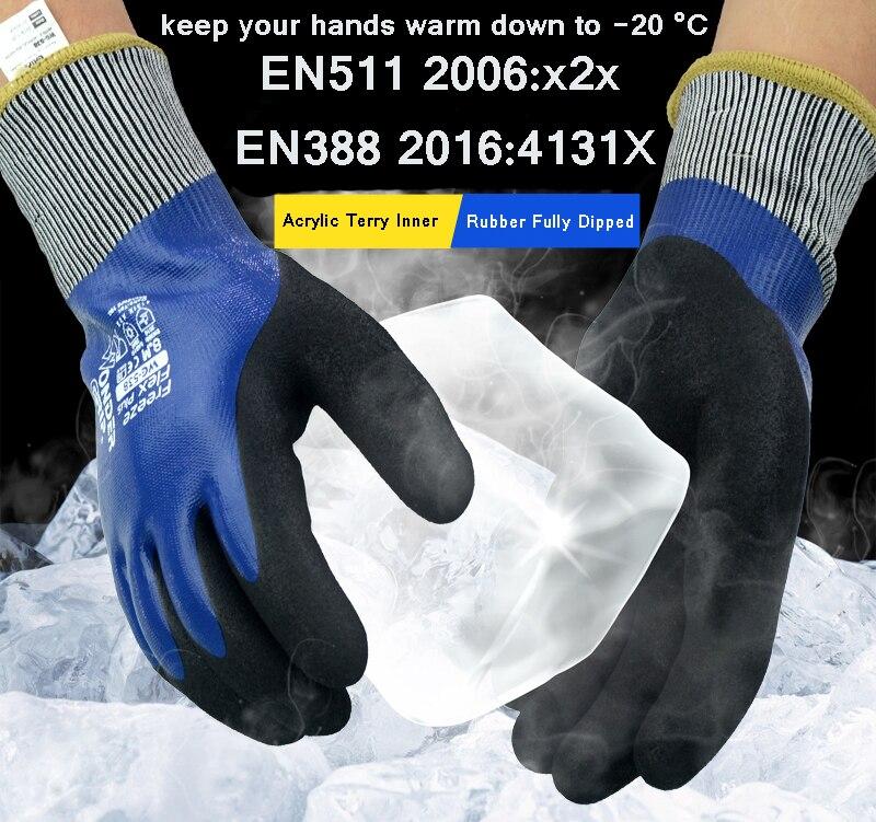 Freeze flex totalmente resistência a óleo grau alimentício contato luva de segurança quente inverno jardinagem luva à prova água anti frio trabalho luvas|Luvas de segurança| |  - title=