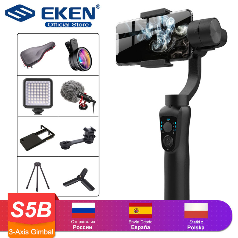 3-Axis Handheld Gimbal Stabilizer Active Track W/Focus Pull & Zoom For IPhone 11 8 Huawei Samsung Smart Phone PTZ Action Camera